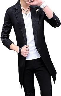 S-XINY スプリングコート メンズ トレンチコート ロング コート ジャケット 薄手 春 通勤 通学 大きいサイズ