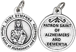 Saint Dymphna Patron of Those Afflicted with Alzheimers and Dementia Round Silver Oxidized Medal Blessed by His Holiness