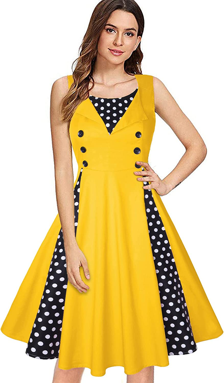 A2A Wedding Guest Dresses for Women,Women's 50s 60s Vintage Sleeveless V-Neck Cocktail Swing Dress Casual Sundress