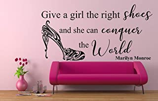 'Give a girl the right shoes and she can conquer the World' Quote, Marilyn Monroe. Vinyl Wall Art Sticker, Mural, Decal. Home, Wall Decor. Bedroom, Bathroom, Dressing Room.