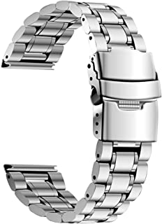 Gear S3 Bands,Galaxy Watch 46mm Watch Bands,22mm Premium Solid Stainless Steel Business Band, for Samsung Gear S3 Frontier/Classic Smart Watchband Gear 2 R380 R381 R382 Bracelet Strap Silver