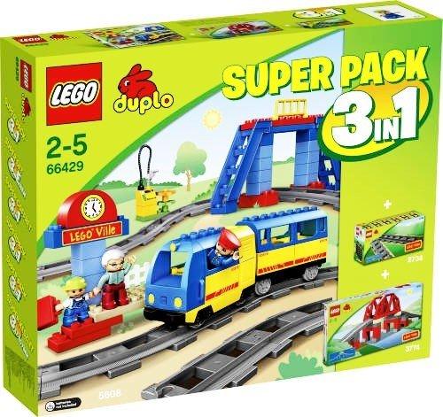 LEGO Duplo 66429 3 in 1 Super-Pack (Eisenbahn 5608 + Brücke 3774 + Schienen 2734)