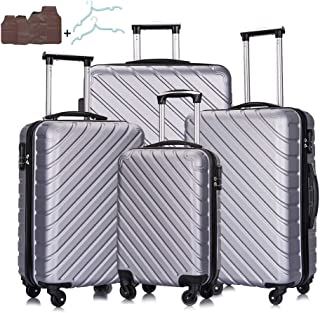 4PC Luggage Sets - Hardshell Suitcases with Wheels Spinner Luggage Sets Carry On Luggage w/free Hanger and Cover(Silver, 4...