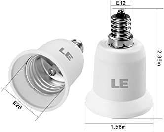 LE E12 to E26 Light Socket Adapter, Bulb Base Converter, Pack of 6