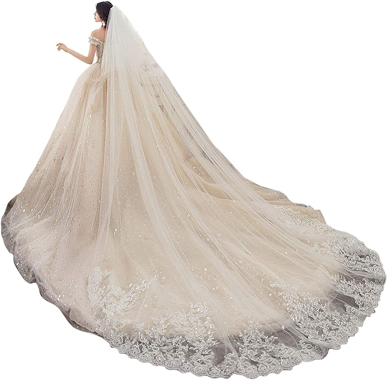 Newdeve Wedding Veils Cathedral Length Lace Sequins Tier Manufacturer OFFicial Our shop most popular shop 2 Long