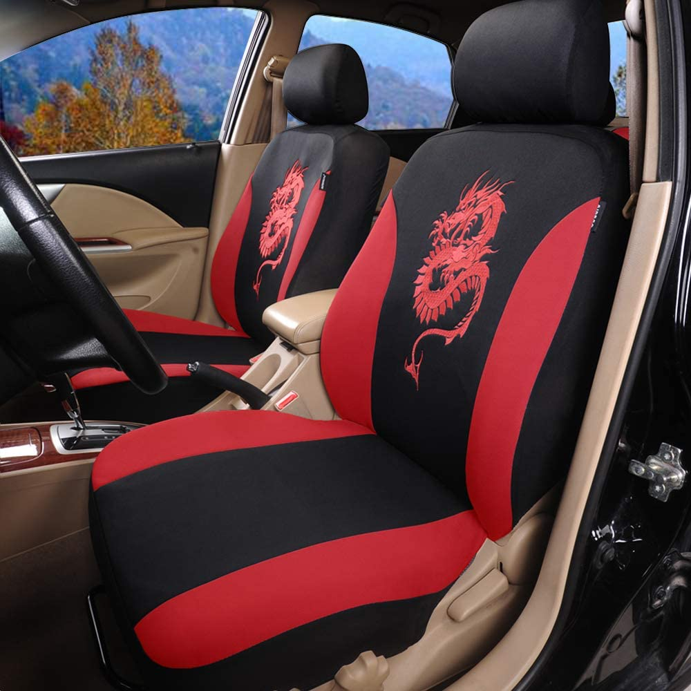Black//Red AUTOYOUTH Airbag Compatible Car Seat Covers Universal Fit Full Set Car Seat Protectors Dragon Pattern Car Seat Accessories