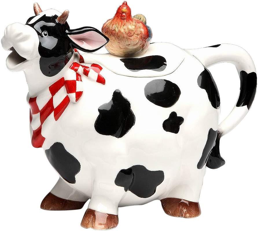 Appletree Design Barn Yard Cow Teapot 6 3 4 Inch