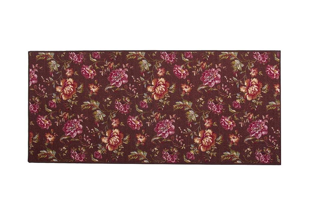 彫る自明役職イケヒコ 廊下敷き ナイロン100% 花柄 『アヒナ』 ブラウン 約80×240cm 滑りにくい加工