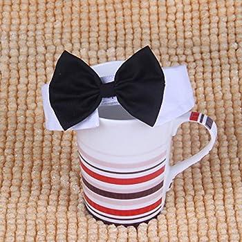 UEETEK Chien Chiot Papillon Pet nœud Papillon Collier Chat Mignon Cravate pour Chiot Chaton - Taille L (Noir + Blanc)