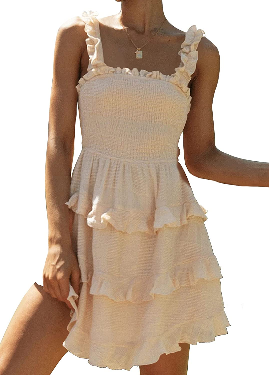 Onedreamer Summer Dresses for Women Ruffle Sleeveless Ruched Smocked Party Cocktail Dress