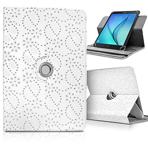 """Seluxion - Etui de Protection et Support Universel L (Dimensions 27,5cm x 19cm), avec Diamants Couleur Blanc pour Tablette Huawei MediaPad M2 10"""""""