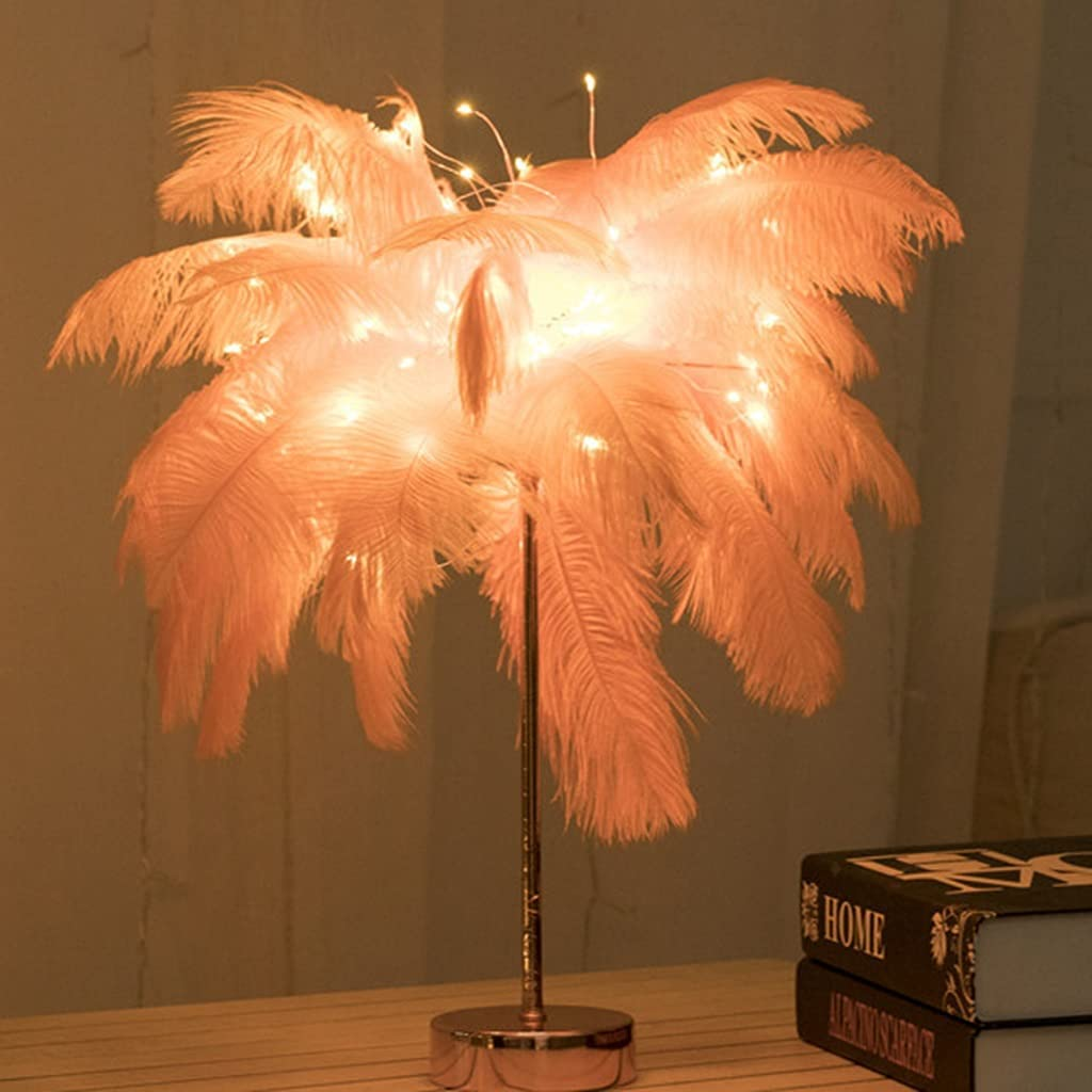 QFFL Finally resale start Feather Deco Table Lamp USB Night Cocon LED Light Bedside Ranking TOP13