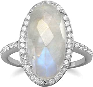 Oval Rainbow Moonstone Ring with Cubic Zirconia Halo Sterling Silver
