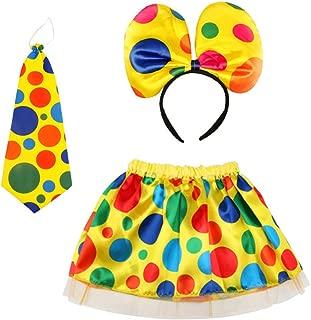 3Pcs Clown Costume Skirt Headband Tie Party Polka Dot Clown Outfits