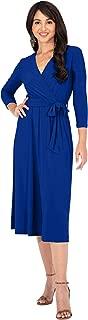 Womens V-Neck 3/4 Sleeve Semi Formal Wrap Flowy Knee Length Midi Dress