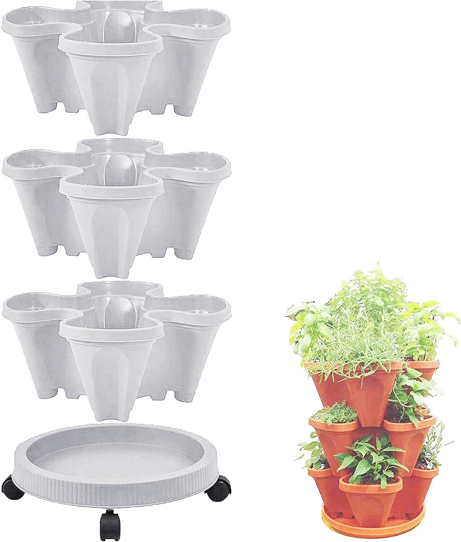 Stackable Plastic Save money Four Gorgeous Petal Multi-Layer Flower Superimposed Pot