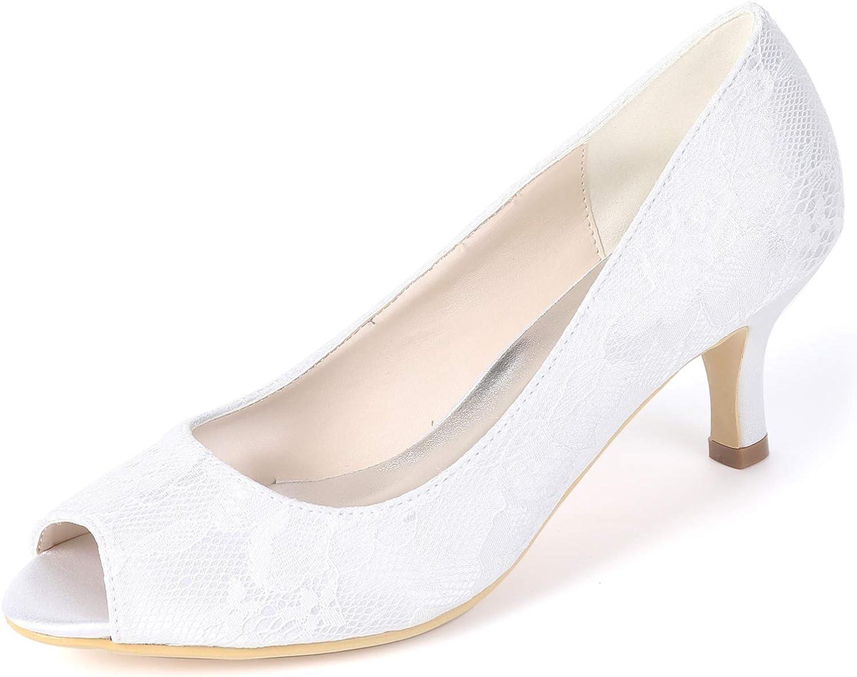 Layearn Frauen Hochzeit Schuhe Chunky   6cm High Heels Peep Toe Spitze Plattform Klassische Pumps   FY119  | Günstig