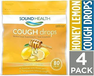 SoundHealth Honey Lemon Cough Drops,Throat Lozenge,Cough Suppressant, 80Count Bag, 4 Pack