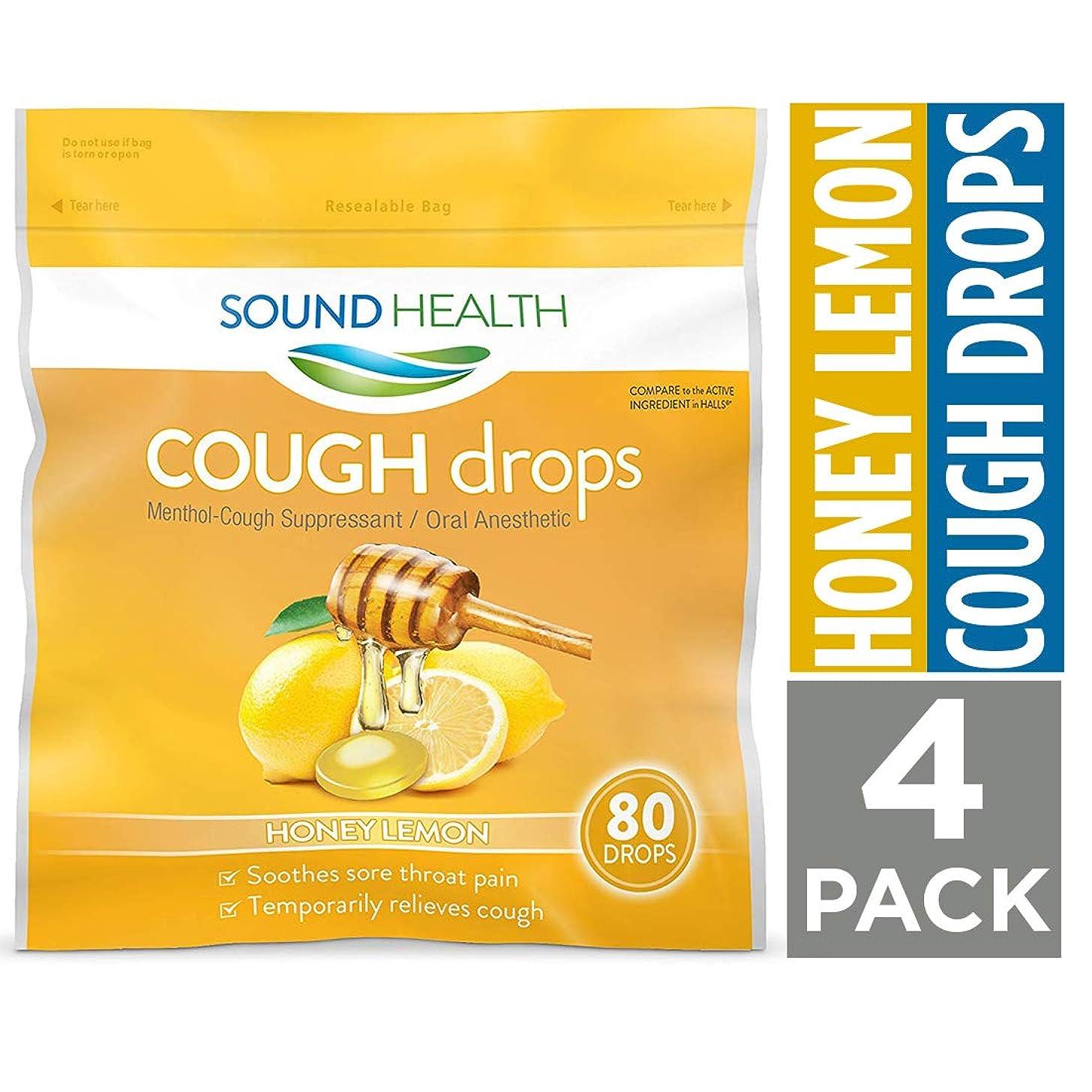 SoundHealth Honey Lemon Cough Drops,?Throat Lozenge,?Cough Suppressant, 80 Count Bag, 4 Pack