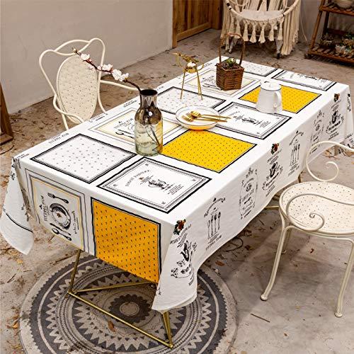 DJUX Mantel nórdico decoración Tela Comida algodón y Lino pequeño paño Fresco Cuadrado a Cuadros Mantel Impermeable té Mantel 140 * 220 cm