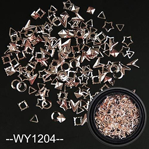 GUANGUA 10g Or et Argent Rivets à Ongles Mixte Fleur carré Triangle Plume Lune cuivre Nail Art décoration