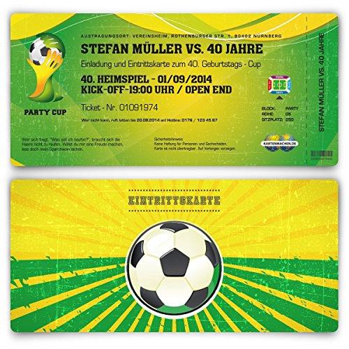 Einladungskarten zum Geburtstag (10 Stück) als WM Fussballticket Karte Ticket Fussball Einladung