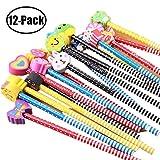 Sunnysam Lápices de Madera para niños, Paquete de 12 lápices de Rayas de Colores con Lindo Borrador de Animales de Dibujos Animados para útiles Escolares y Regalos para niños (11)