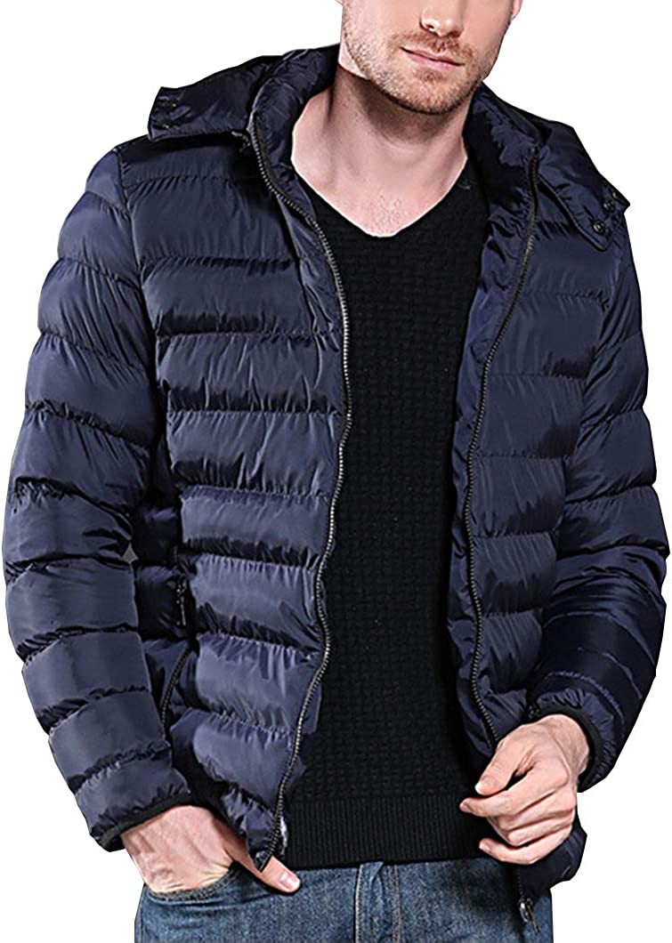 Duyang Men's Lightweight Cotton Down Hooded Coat Puffer Quilted Jacket Outerwear
