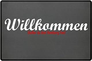 PlimPlom Fußmatte Anti Hamburg in grau - Lustige Fußball Schmutzfangmatte mit Statement für Dein Zuhause aus Polypropylen mit Rutschfester Unterseite