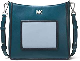 MICHAEL Michael Kors Gloria Tri-Color Leather Messenger in Luxe Teal/Admiral