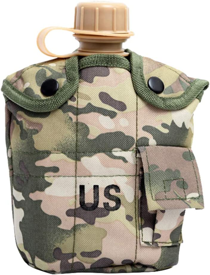 CLISPEED Kit de Cantina Militar de 3 Piezas con Tapa Taza de Aluminio Portátil Botella de Agua Militar Juego de Utensilios de Cocina para Acampar Al Aire Libre Senderismo Mochilero