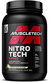 Protein Powder for Weight Loss | MuscleTech Nitro-Tech Ripped | Whey Protein Powder + Weight Loss Formula | Lose Weight | ...