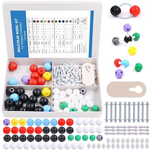 Swpeet 115 Pcs Organic Chemistry Molecular Model Student and Teacher Kit, Molecular Model Set for Inorganic & Organic Chemistry - 50 Atoms & 64 Links & 1 Short Link Remover