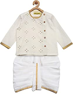 Infant White Angrakha kurta dhoti set
