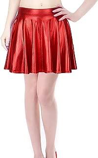Shiny Metallic Skirt Flared Pleated Holographic A-Line Mini Skater Skirts