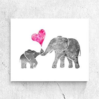 Watercolor Grey Baby Elephant with Mom Art Print Painting Wall Art Pink Love Heart Cute Picture Kids Room Decor Nursery 11x14 Inches No Frame