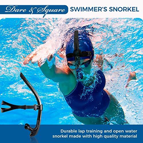 are & Square Swim Snorkel - One Way Valve and Food Grade Mouthpiece (Black)
