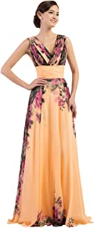 Floral Print Graceful Chiffon Prom Dress for Women (Multi-Colored)