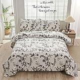 Oliven Botanical Bedding Quilts Tagesdecke King Size Grau Weiß Blumen Blätter Bettbezug Weiche Atmungsaktive Mikrofaser Kabinen-Deckenset mit 2 King Size Kissenbezüge