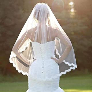 1T Bridal Veil Length Applique Lace Edge Veil For Bride Women Wedding Accessories With Free Comb Fingertip 0605 yynha (Col...