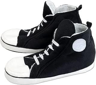 Hi-Top Sneaker Slippers-Retro Comfy Warm-Plush Interior-Slip Resistant EVA Sole-Black