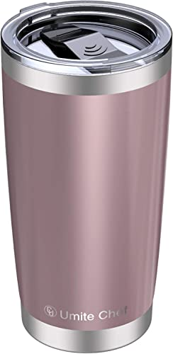 2021 20oz Vacuum Insulated Tumbler, Stainless Steel Double Wall new arrival sale Travel Mug with Splash-Proof Lid by Umite Chef, Stainless Steel Coffee Cup with Straw for Hiking, Camping & Traveling(Rose Gold) outlet sale