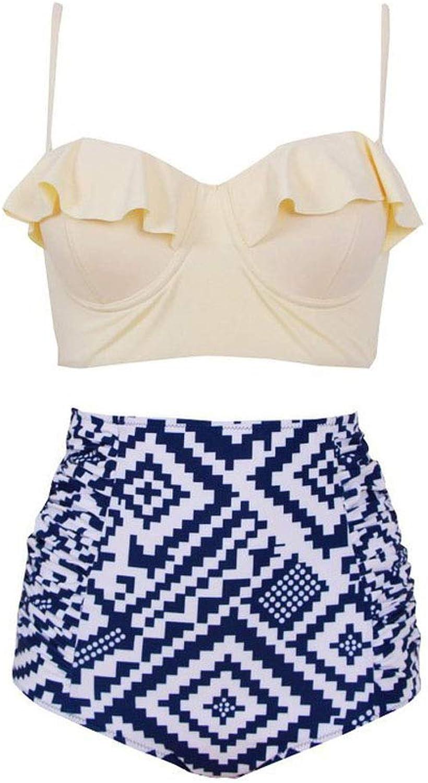HITSAN Women Bikini Set Printing Swimwear Beach Wear Padded Ruffle Swimsuit High Waist Bathing Suit YSBuy color color 6 Size 4XL