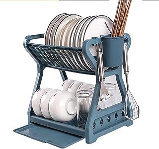SJZERO Support de Plateau de Cuisine avec Cage à Baguettes Double Couche Bol à Vaisselle égouttoir de Stockage pour Organi...