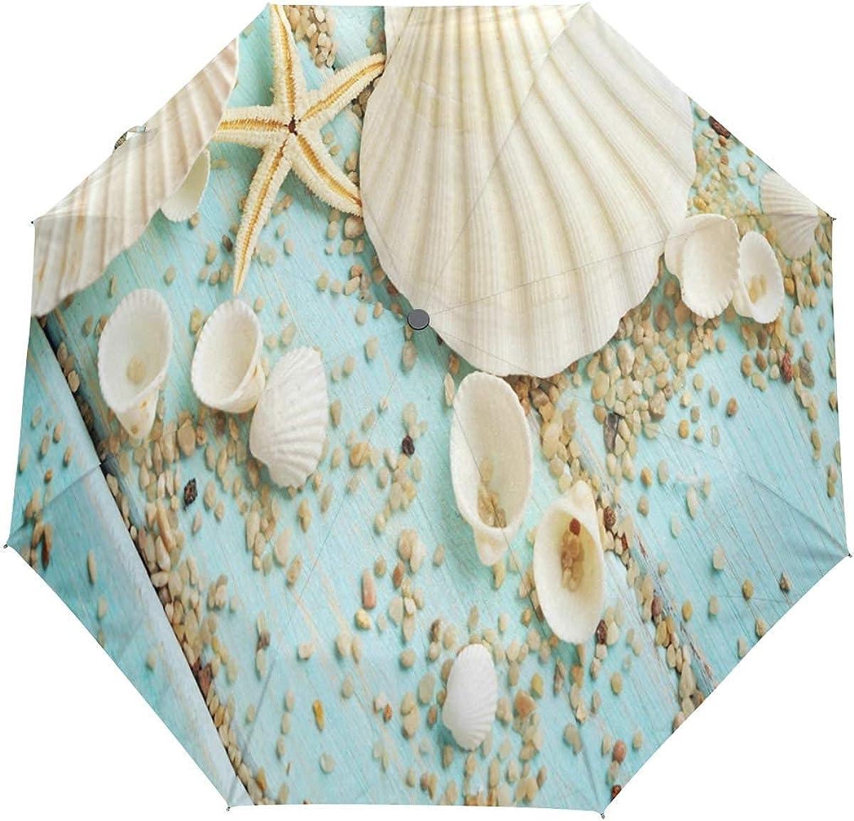 DERTYV 3 Folds Auto Cash special price Open Close Umbrella Summer Max 81% OFF Seashell Wi Beach