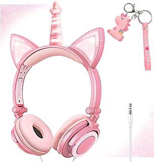 Auriculares de unicornio para niñas, niños, adolescentes y mujeres. Auriculares con cable para niños con orejas de gato plegables y LED brillantes para teléfonos inteligentes/iPhone/iPad/Kindle/Laptop (melocotón)