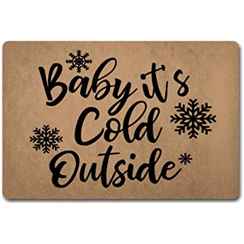 ZQH Mats Funny Door Mat Baby its Cold Outside Doormat Snow Flake Door Rugs Welcome Monogram Door Mats (23.6 X 15.7 in)Anti-Slip Home Decor Doormat Prank Gift Door Mat For The Entrance Way Indoor Mats
