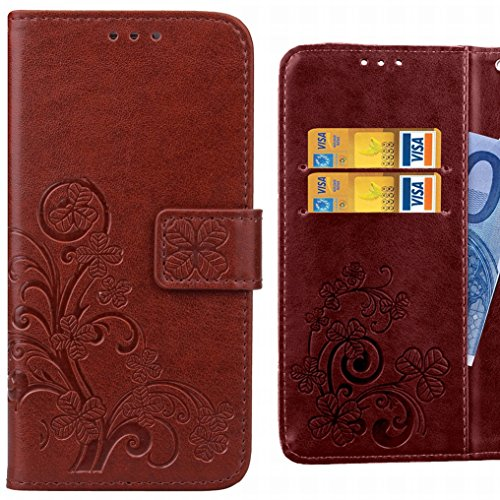 Ougger Handyhülle für Lenovo C2 Tasche Glückliche Blätter Beutel Brieftasche Schutzhülle PU Leder Weich Magnetisch Silikon TPU Cover Schale für Lenovo C2 mit Kartenslot (Braun)