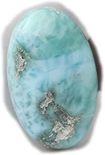The Best Jewellery Larimar Cabochon 17Ct Natural Larimar Gemstone, Oval Shape Cabochon For Jewelry Making (22x14x6mm) SKU-...
