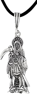 eJewelryPlus Sterling Silver Santa Muerte with OWL and Scale Oxidized Made in USA